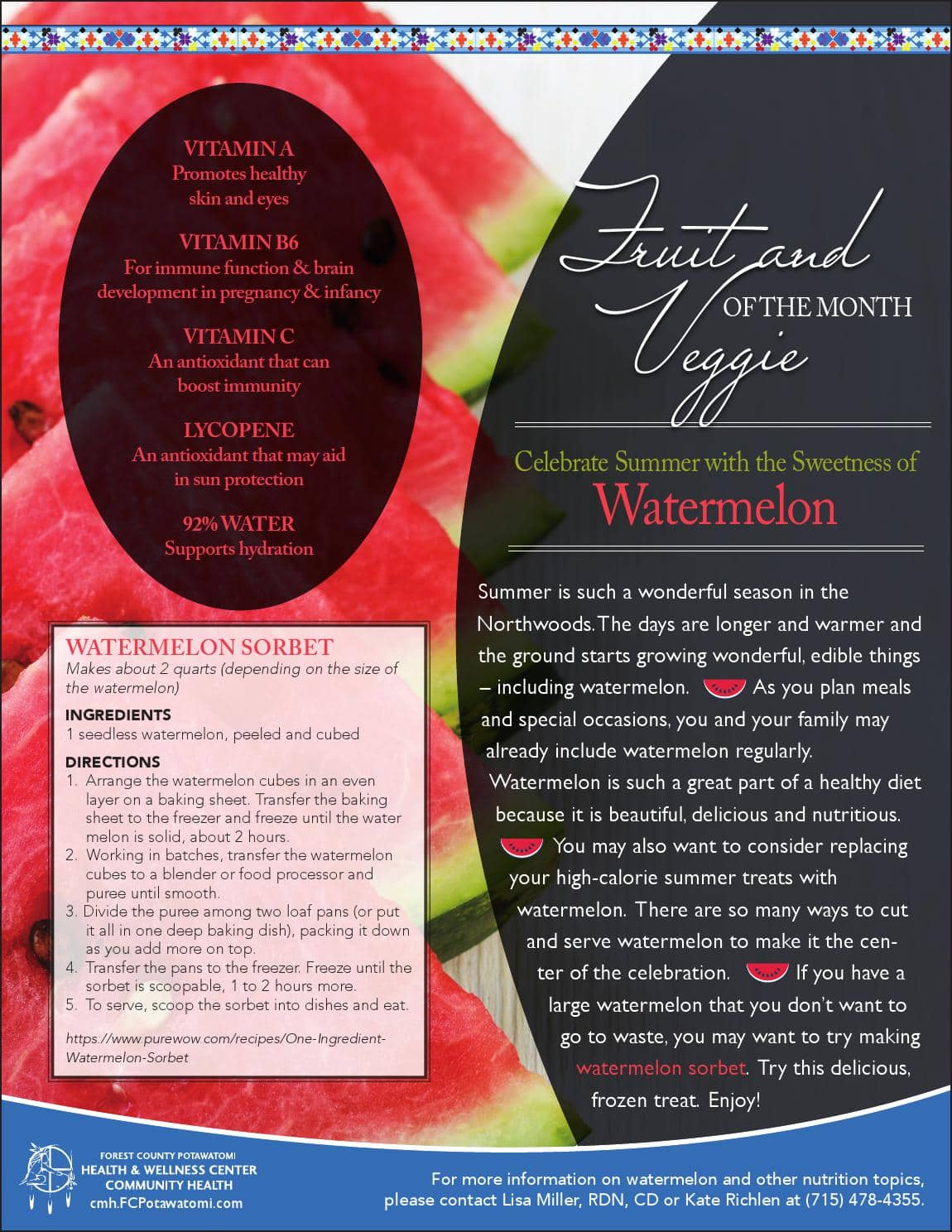Featured Fruit/Vegetable of the month Watermelon